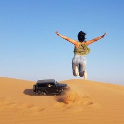 Jumping in sand dune